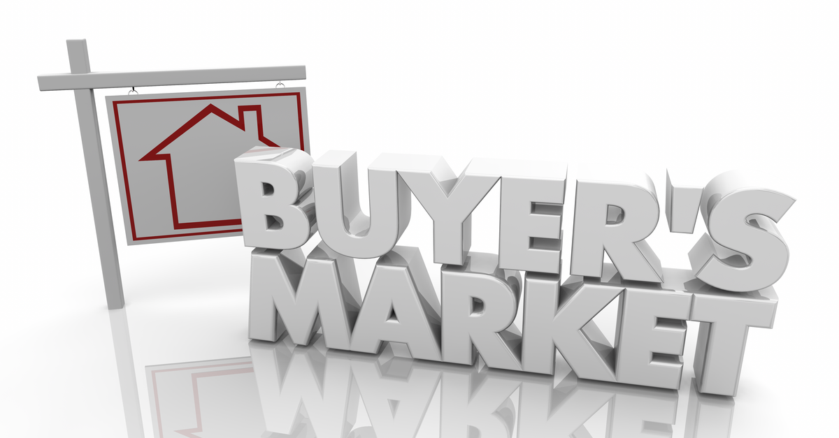 White Buyer's Market Sign representing In Real Estate What is a Buyer's Market